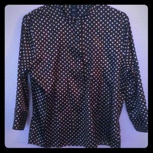 Black & white polka dot, pleated top